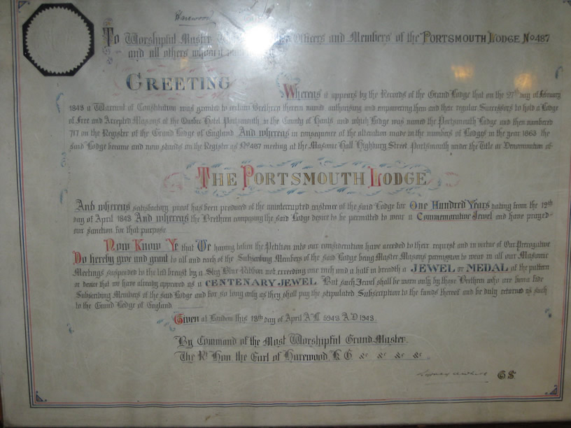 The Portsmouth Lodge No 487 Centenary Warrant